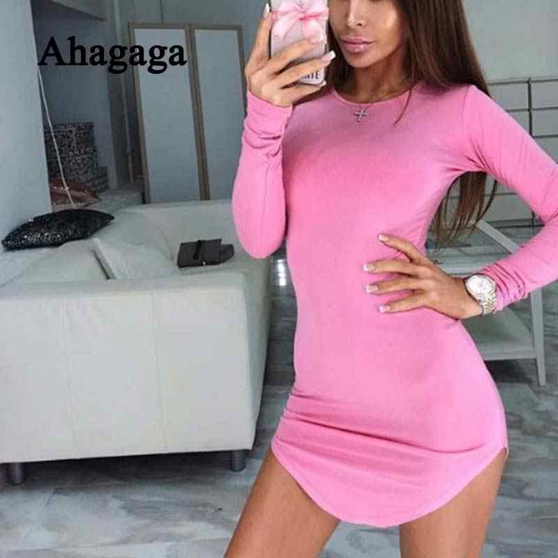 Ahagaga 2019 весеннее Платье женское облегающее модное обычный длинный рукав с круглым вырезом сексуальное Клубное платье женское платье vestidos