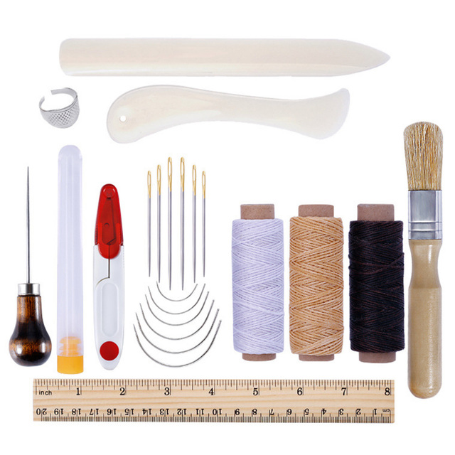 22pcs Bookbinding Leather Stitching Tools Set with Bone Folder Creaser Needles Awl Waxed Thread for DIY Handmade Craft Supplies