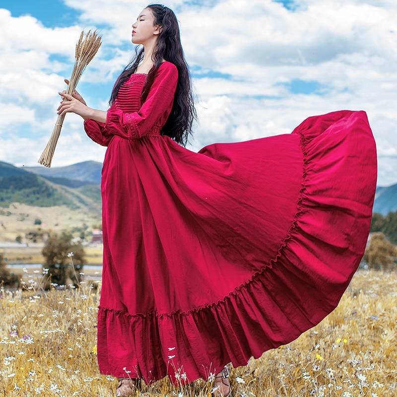 Seule D'une Et Maxi Boshow Femmes Robes Vintage Livraison Printemps Manches Longue Taille Gratuite Automne 2019 Nouveau Rouges l S Elastique Lanterne Pièce qPxxv6Xw