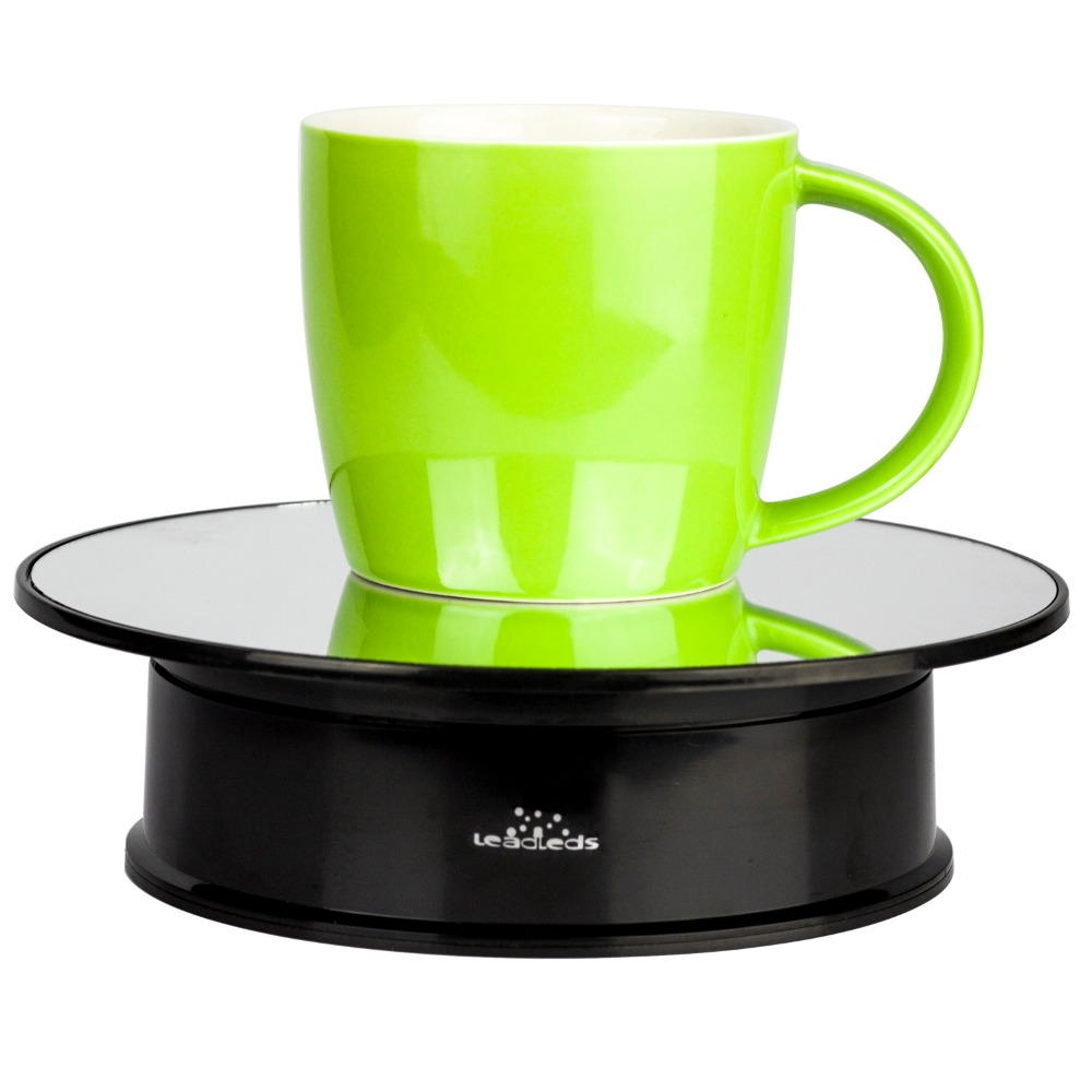 Mirror Glass Top Battery Power Display Stand 360 Rotating Electric Turntable Show Holder Display Holder Show Merchandise
