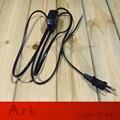 Aprovação VDE europeu 1.8 M Cabo com 2 pinos Redondos Plug Preto UE Interruptor Dimmer Fio online para Mesa/Lâmpada de assoalho
