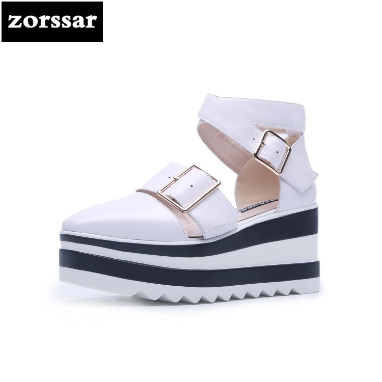 {Zorssar} Women Sandals Summer 2018 Platform Sandals High Heels Shoes Ankle Strap Ladies Wedges Sandals Casual Footwear hzxinlive elegant summer sandals women high heel wedges shoes woman round toe roman sandals ladies footwear female casual shoes