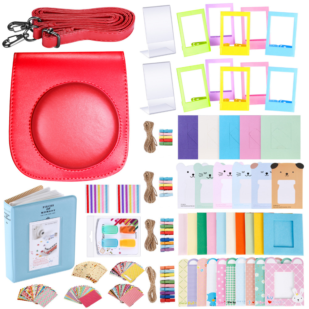 Neewer 56 in 1 Accessory Kit for Fujifilm Instax Mini 70 Camera Case with Adjustable Strap Various Frames Book Album etc