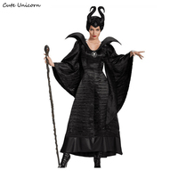Maleficent Halloween Costumes For Women Witch Cosplay Fairy Tale Sleeping Beauty Curse Witchcraft Black Dress Sexy