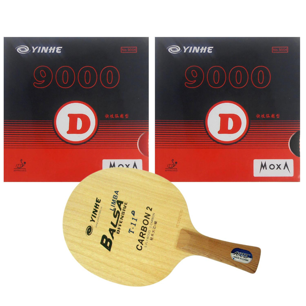 Pro Table Tennis (PingPong) Combo Racket: Galaxy YINHE T-11+ with 2x Galaxy YINHE 9000D Shakehand long handle  FL pro table tennis pingpong combo racket globe 522 with globe 999t japanese sponge and 999 999t shakehand long handle fl