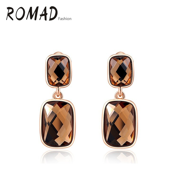 ROMAD Drop Earrings Brown Stone Genuine Austrian Crystals Gold Color Fashion Women Earrings