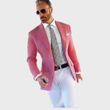 Hot Pink Suit Men Blazer Formal With White Pants Smart Casual Business Terno Slim Fit Tuxedo Coat Jacket Costume Homme