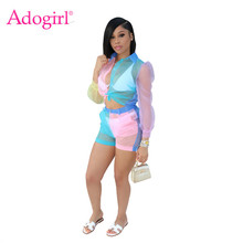 Adogirl Color Patchwork Sheer Organza Two Piece Set Front Tie Long Sleeve Blouse Shirt Top + Shorts Fashion Casual Women Outfits