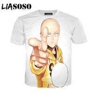LIASOSO Summer New Men Women T-Shirt 3D Print Cute Anime One Punch Man Sweatshirt Fashion Unisex Short Sleeve Top Pullover A010  1