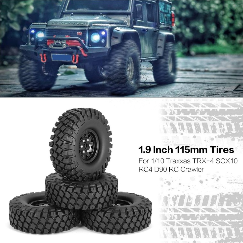 4Pcs 1.9 Inch 115mm Rubber Tires RC Crawler Car Part Tire with Metal Wheel Rim Set for 1/10 Traxxas TRX-4 SCX10 RC4 D90 4pcs 1 9 rubber tires