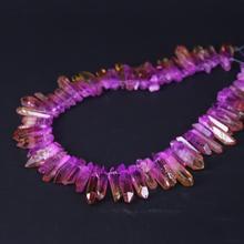 15.5/strand Purple&Orange Titanium Raw Crystal Quartz Top Drilled Point Beads,Gradient Color Cut Crystal Stick Pendants Jewelry