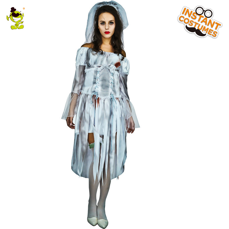 Ghost Bride Costume Women's Corpse Bride Sexy Dress Cosplay Costume Creepy Party Zombie Fancy Dress Costumes