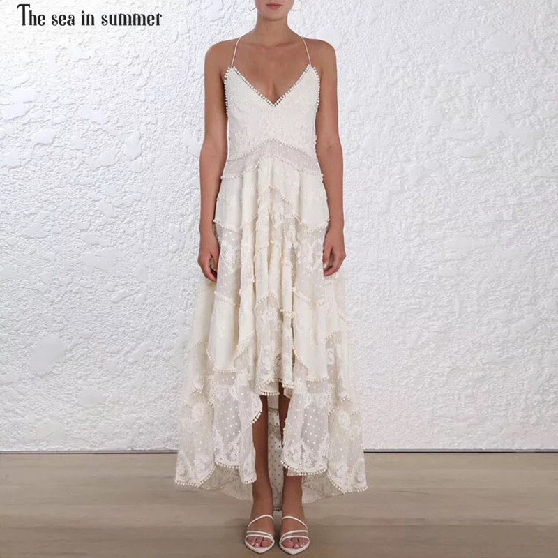 The sea in summer runway Luxury Dress Women s High End Fashion Embroidery Crochet Sexy Mid