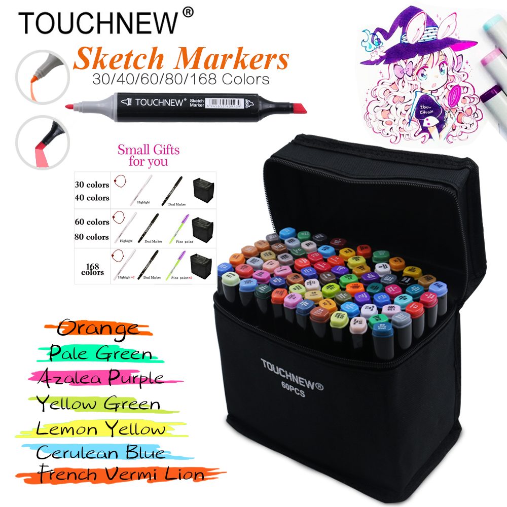 Marker Touchnew 40/60/80/168 colors Artist Dual Head Art Sketch Markers Set For Manga Marker School Drawing Marker Pen Design sketch marker pen 218 colors dual head sketch markers set for school student drawing posters design art supplies