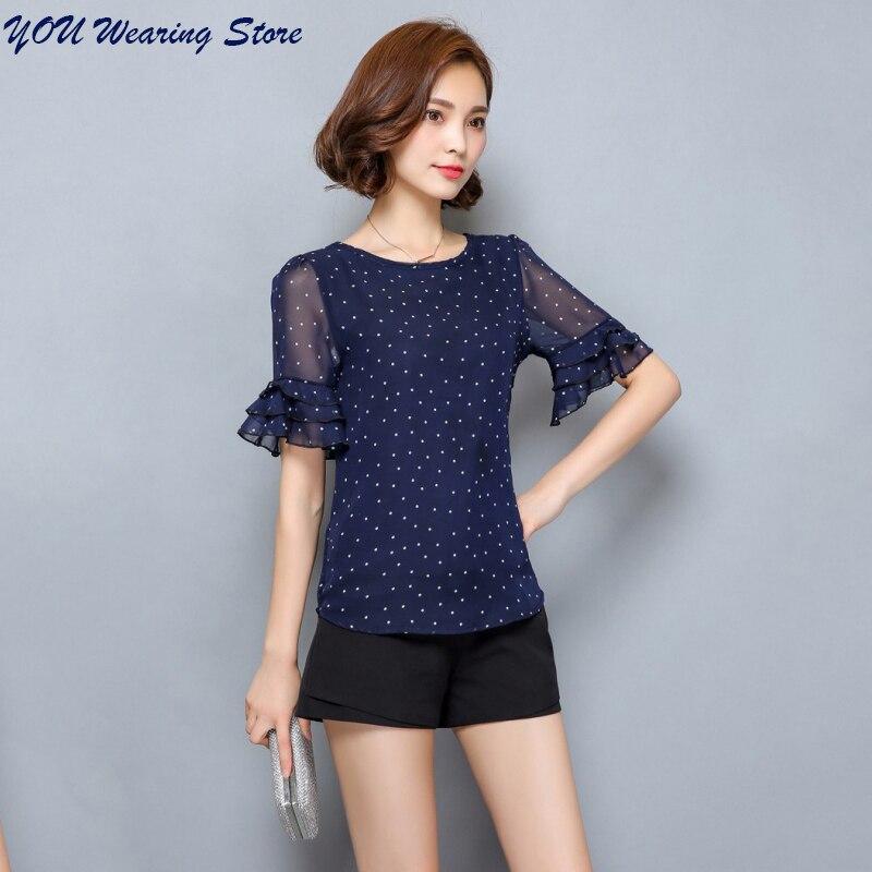 5XL Women   Blouses   2017 Summer Short Sleeve Chiffon   Blouse     Shirt   Polka Dot Women   Shirts   Plus size Women Clothing Ladies Tops