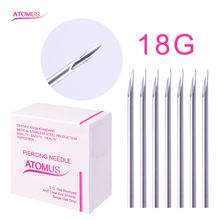 ATOMUS 18G Stainless Steel Sterile Packs Tattoo Needles Nose Lip Ear Sterile Needle For Beauty Body Piercing Jewelry Tools