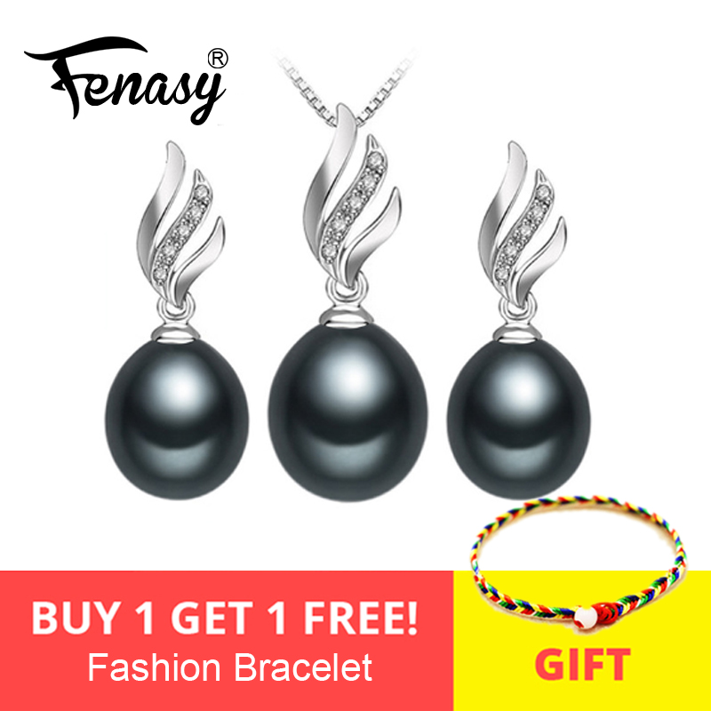 FENASY Nice Natural Pearl Jewelry Sets 925 Sterling Silver Natural Pendant Necklace For Women Crystal Stud Earrings Set Wedding