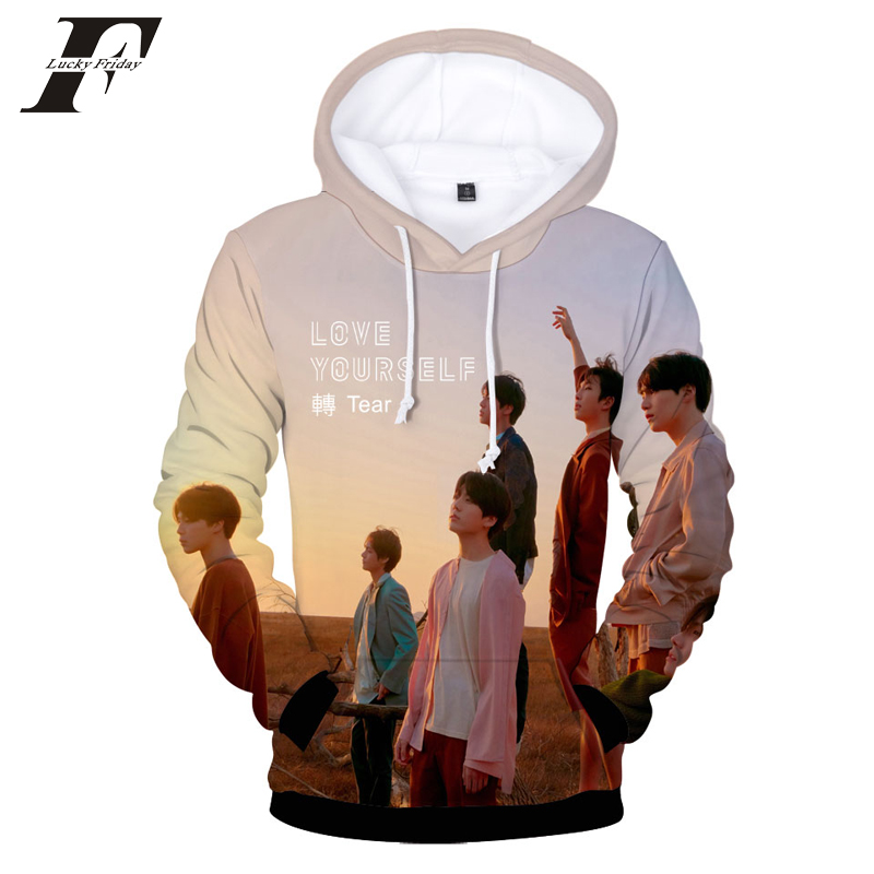 LUCKYFRIDAYF 2018 BTS New Album BTS LOVE YOURSELF Turn Tear 3D Printing Trend Sweatshirt Hoodie Men's/Women's Clothing