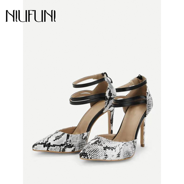 4afba22368c 2019 New Style Spring Women Sandals Pumps Gladiator Sexy Snakeskin Pattern Woman  High Heels 11 cm Thin Heel Ladies Party Shoes