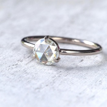 0.87Carat 6.5mm Rose Brilliant Cut DEF Color Moissanite Wedding Ring 18k White Gold For Women Fine Ring 2