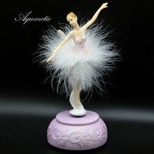 Aqumotic Pink Ballerina Music Box White Ballet Girl Rotating Feather Skirt Carousel 3d Musical Boxes for Girls