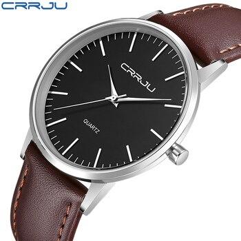 Часы CRRJU мужские, классические, кварцевые, с кожаным ремешком