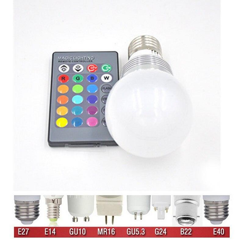 NEW E27 E14 B22 RGB LED Lamp 3W LED RGB Bulb Light Lamp AC 85-265V Remote Control 16 Color Change Lampada LED bulb free shipping rgb led bulb 9w 15w rgb bulb e27 e26 e14 gu10 b22 ac 85 265v rgb led lamp with remote control multi color lamp