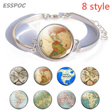 все цены на Vintage Globe World Map Snap Button Silver Bracelet North America / South America /Africa /Australia /Europe Map Charm Bracelet онлайн