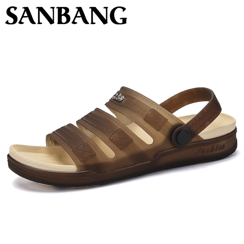 Summer Beach Sandals Slippers Hollow Out Ventilating Men Shoes Solid Color Flat Breathable Outdoor Sandals Sandalias Hombre sx1