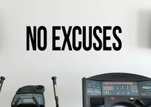 Gym Style Wall Decal Quotes No Excuses Self Motivation Vinyl Home Wall Stickers Removable Workout Fitness Interior Decor