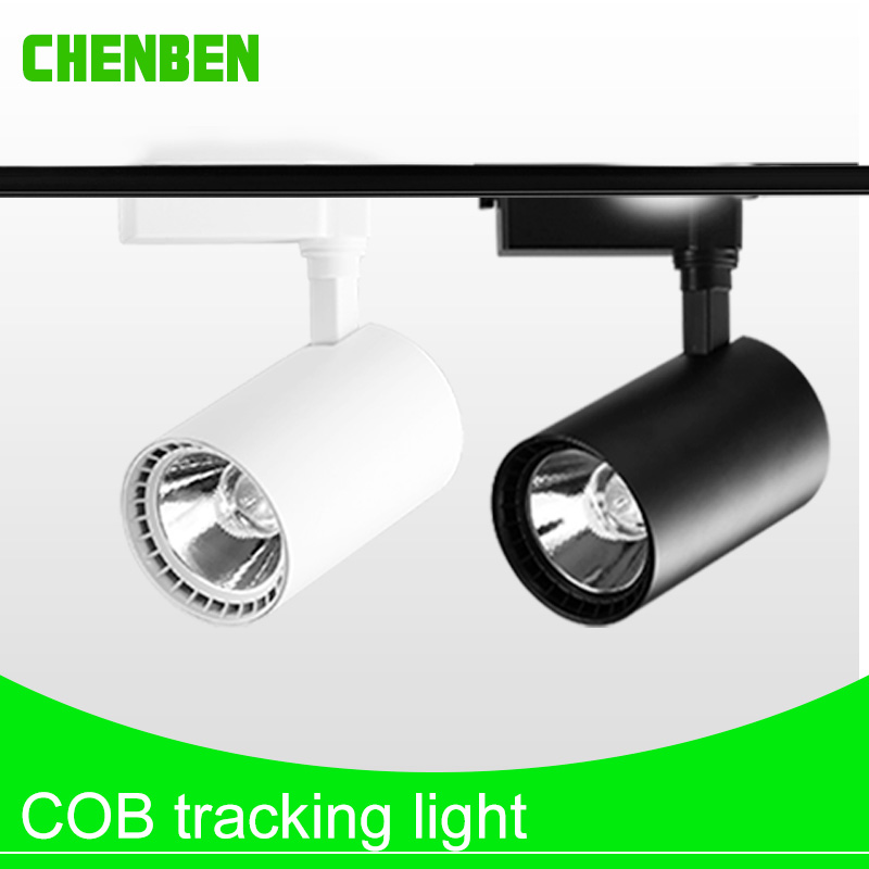 High Power COB LED Track Light Lamp 12W 20W 30W Led Ceiling Rail Track Lighting Fixture 220V Spotlight Lamp for Cloth Store Shop 12w dimmable cob led track lighting ac85v 265v aluminum shell led rail ceiling light spotlight ac110v or ac220v led track lamp