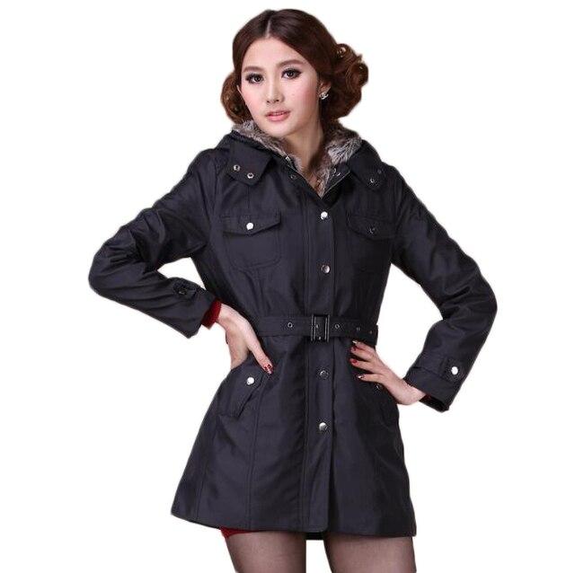 Womens warm hooded fur winter jacket trench coat