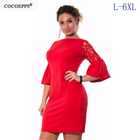 COCOEPPS 2017 Women Dress Spring Plus Size Elegant Party Dresses Half Sleeve Lace Ladies Women Clothing