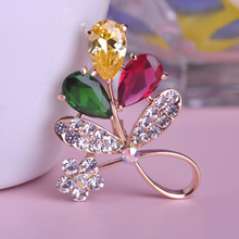 Large Flowers Red Green Rhinestone Brooches Bouquet Crystal Luxury Brand Designer Woman Brooch For Wedding Jewelry Leaf Mix