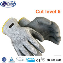 NMSafety Brand 4 Pairs Of HPPE fiber level 5 Palm Coated PU Knife Resistant Gloves