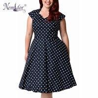 Nemidor 2017 Hot Sales Casual Dot Short Sleeve Elegant Party Patchwork Dress V Neck Plus Size