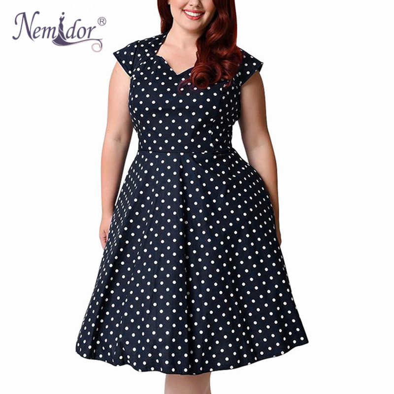 Nemidor Women Casual Dot Short Sleeve Elegant Party Patchwork A-Line Kjole V-Strikk Plus Størrelse 7XL 8XL 9XL 1950S Retro Swing Dress