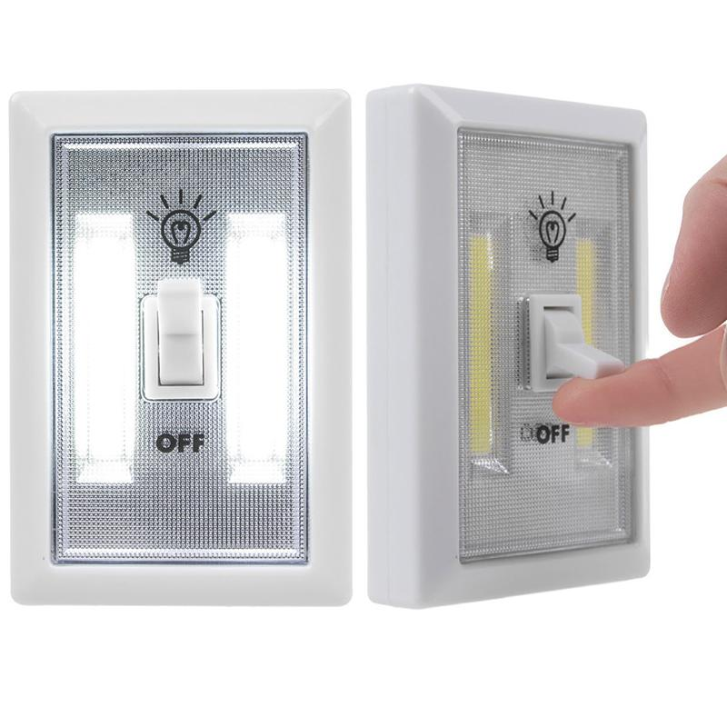 HobbyLane COB LED Wall Switch Lights Emergency Kids Night Light Indoor Outdoor Home Lighting Lamp For Cabinet Closet Bedside