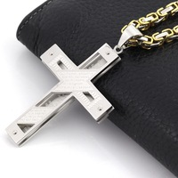 1 PC New Gift Unisex Women Men Gold Silver Stainless Steel Cross Pendant Necklace Punk Jewelry