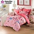 4pcs 100%cotton 3D red butterfly bedding set bird fish bed linen mickey cat car duvet cover bed sheet twin full queen king size