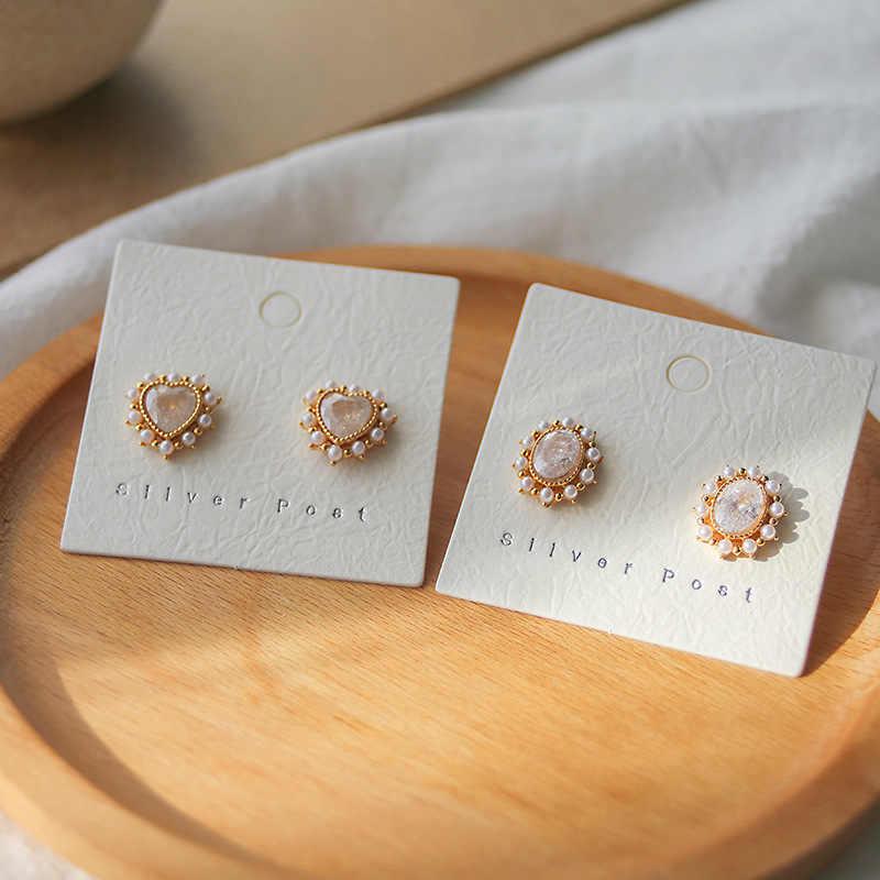 Classic Geometric Crystal Women Stud Earrings Simple Pearl Loving Earrings  Fashion Jewelry Womens Accessories
