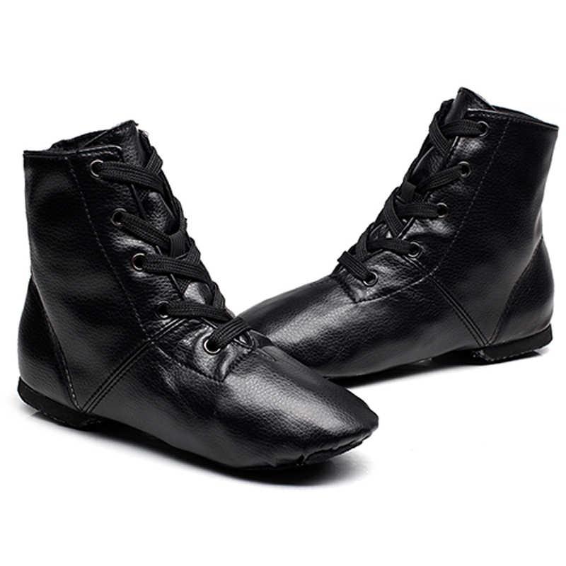 b451e0918ef97 ... TIEJIAN Leather High-top Jazz Boots Girls Dance Shoes Professional Soft  Bottom Modern Dance Shoes ...