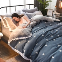 JaneYU 2019 New Arrived Winter warm thicken AB multi function quilt cover A side coral velvet B side pure cotton duvet cover