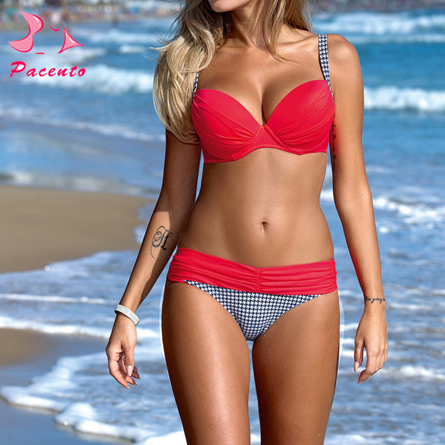 2873a01cdaaf9 Pacent Sexy Bikini Women Beach 2017 Brazilian Push Up Women s Biquini  Swimwear Bra Solid Plaid Patchwork Swimsuit Maillot Femme