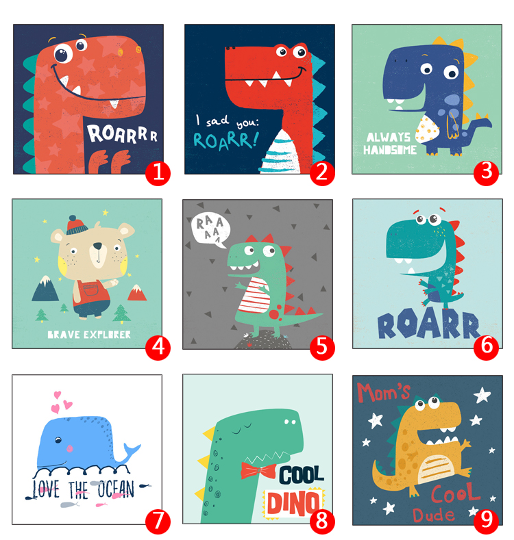 Kawaii Dinosaurs Animal Print Modern Nordic Cartoon Nursery Wall Art Picture Kids Baby Room Decor Canvas Painting No Frame in Painting Calligraphy from Home Garden