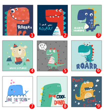 Kawaii Dinosaurs Animal  Print Modern Nordic Cartoon Nursery Wall Art Picture Kids Baby Room Decor Canvas Painting No Frame