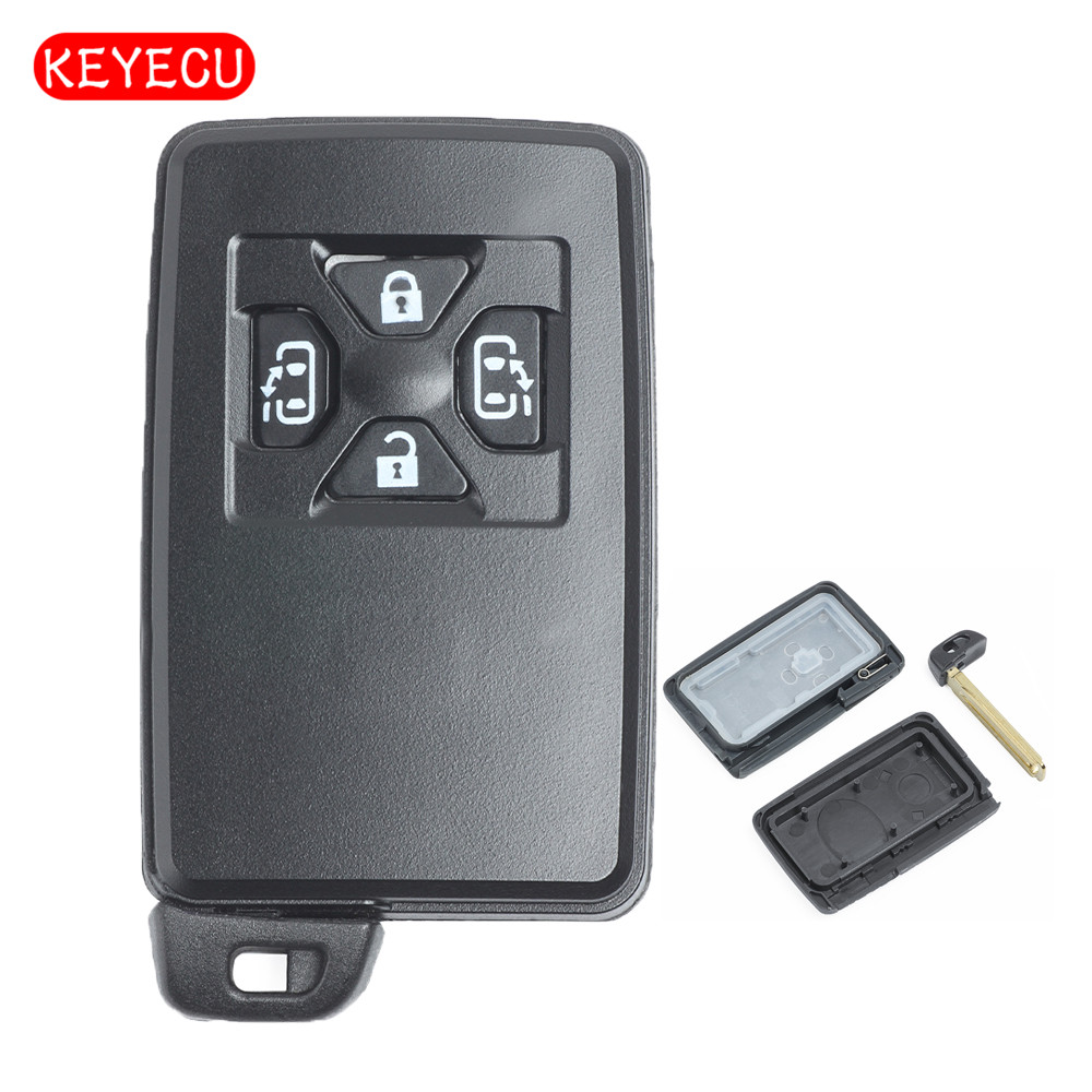 Keyecu 10 pcs/lot remplacement noir Smart Remote clé Case clé Shell 4 boutons Fob pour Toyota avec lame non coupée (clé shell seulement)