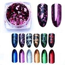 0.2g Magic Mirror Chameleon Glitter เล็บ Flakes Sequins ผงทองเงินไม่สม่ำเสมอ Paillette เล็บเล็บตกแต่ง