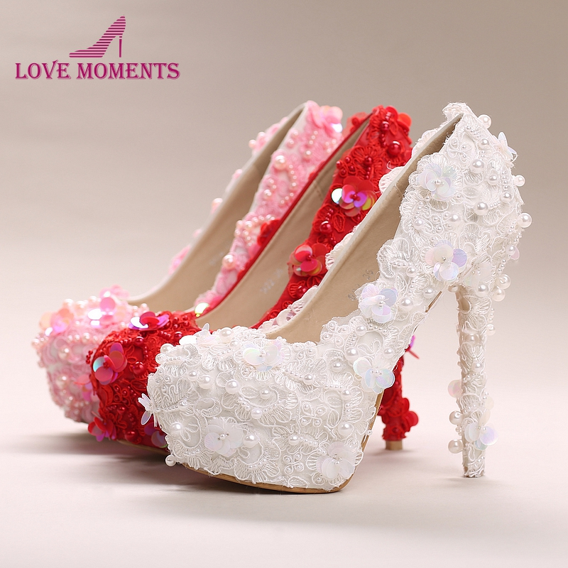 White Pink Red Lace High Heel Wedding Party Shoes 10cm 12cm and 14cm Heel Glitter Sequin Formal Dress Shoes Bridesmaid Shoes dorisfanny sparkly glitter sequin high heel pumps shoes sexy party club prom 12cm size 33 45 womens high heel shoes