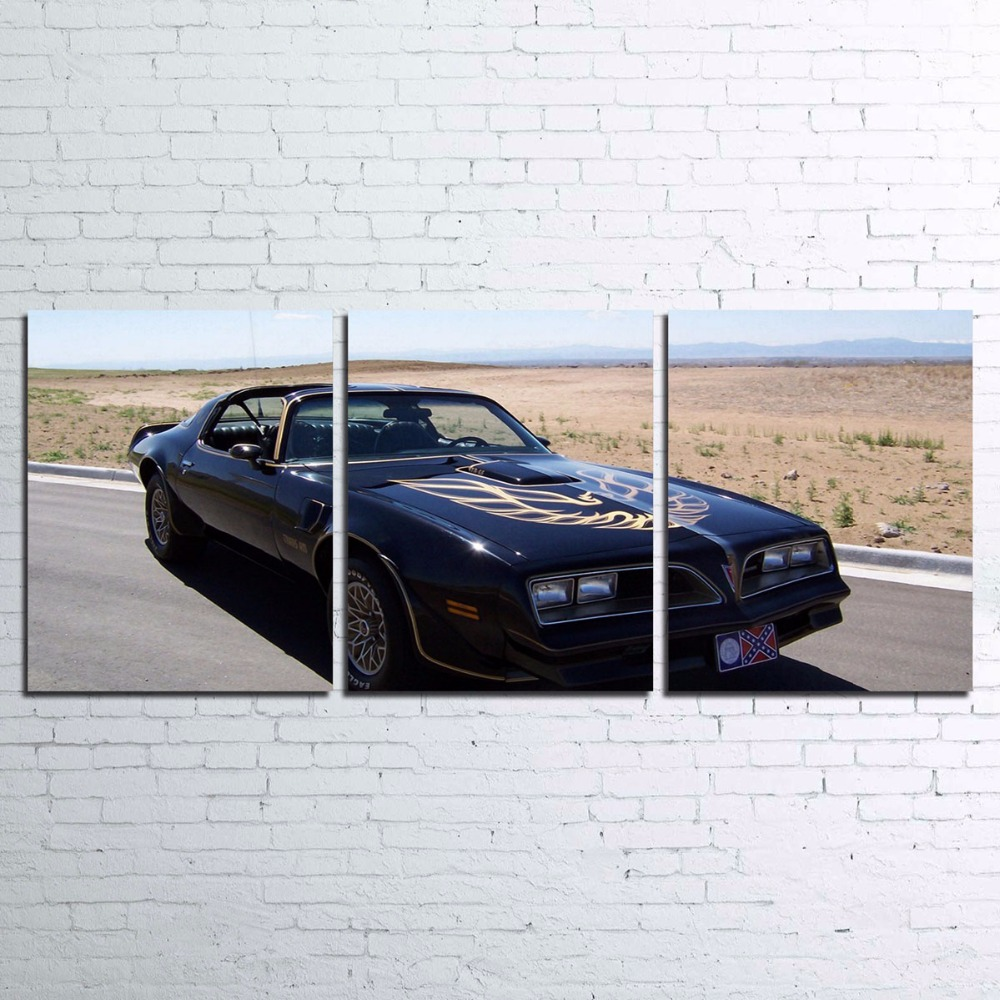 Modular Canvas HD Printed Posters Home Decor Wall Art 3 Pieces Black Sports Car Paintings For Living Room Pictures Framework